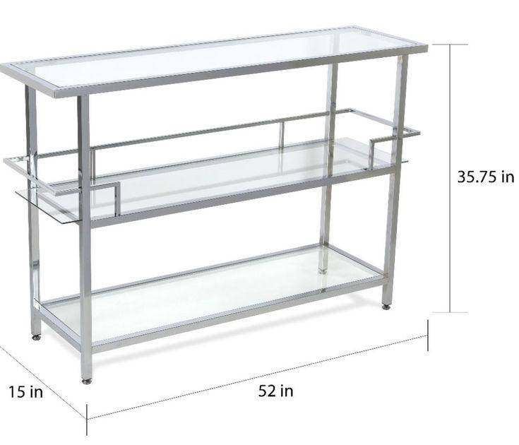 Modern Bar Cart With Storage Glass Shelves Kitchen Decor Chrome Finish New #barcart