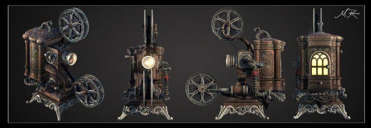 Steampunk Ampro Projector, Mark Ranson on ArtStation at https://www.artstation.com/artwork/steampunk-ampro-projector
