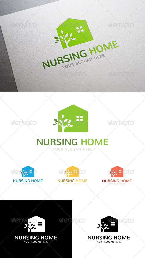 """Logo - Nursing Home  #GraphicRiver         This is our first logo design, hope you like it!   Nursing Home – """"A logo that cares about old people""""  Features     Different Colors             Green        Blue        Yellow        Red        Black & White              CMYK    100% Vector    Illustrator & EPS file    Fully Editable & Layered   Font used: Nunito 