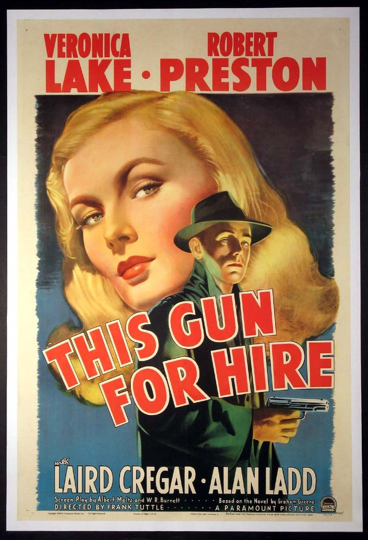 THIS GUN FOR HIRE Movie Poster (1942) || FILM NOIR Movie Posters   @ FilmPosters.Com - Vintage Movie Posters and More