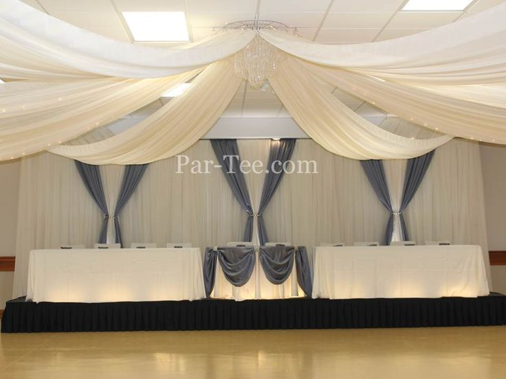 Wedding Décor Featuring Custom Backdrop and Custom Head Table Design.