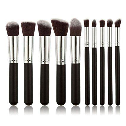 Cepillos de Maquillaje, VOSMEP Professional 10 Piezas Set Maquillaje Pinceles, Ideal para Aplicar Correctores, Fundaciones, Polvos FÁCIL DE LLEVAR Negro Plata HB3