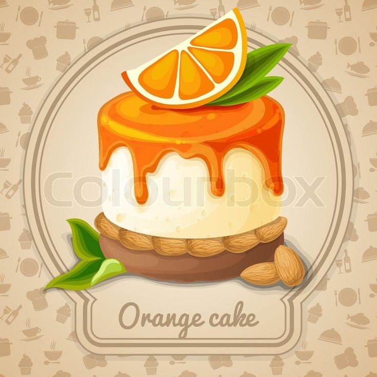 Stock vector of 'Orange cake dessert with syrup and almonds emblem and food cooking icons on background vector illustration'