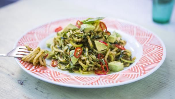 This super-quick, no-cook, no-fuss vegan dish is a delicious and healthy alternative to traditional spaghetti pesto.  Equipment and preparation: For this recipe, you will need a julienne peeler.  This meal provides 378 kcal, 10g protein, 14g carbohydrate (of which 5g sugars), 31g fat (of which 6g saturates), 11g fibre and 0.9g salt per portion.