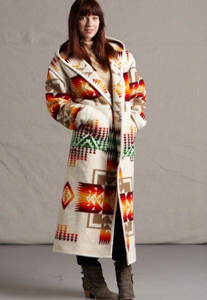 Reversible Indian Blanket Long Coat, Chief Joseph Pendleton ® Wool Coat