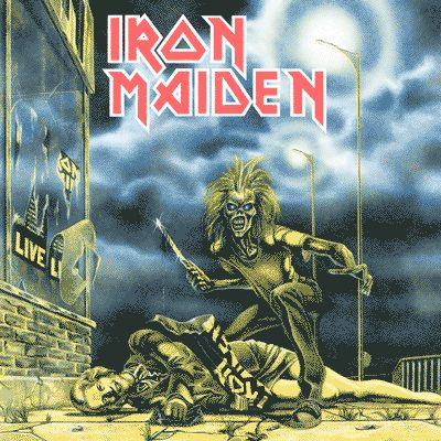 Sanctuary (single) | Iron Maiden  Em outro Eddie bem polêmico, Riggs desenhou o personagem com uma faca na mão e ao lado do corpo caído de Margaret Thatcher.