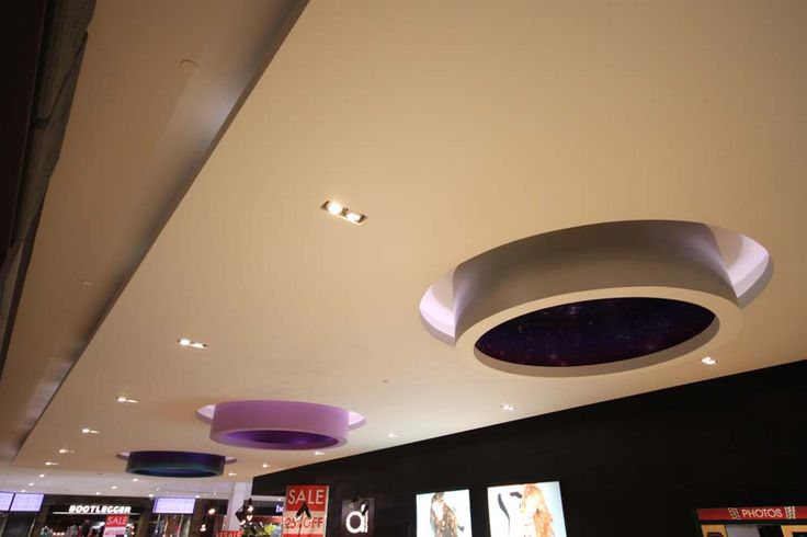 Custom round ceiling feature at West Edmonton Mall.