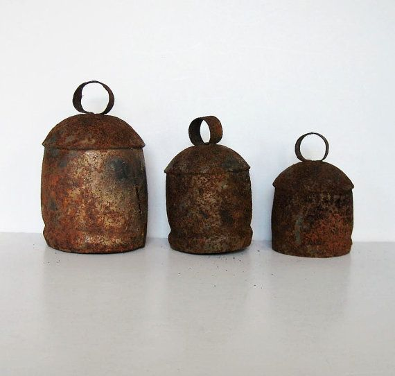 Set of 3 Hand Forged Vintage Cow Bells wind by jewelryandthings2