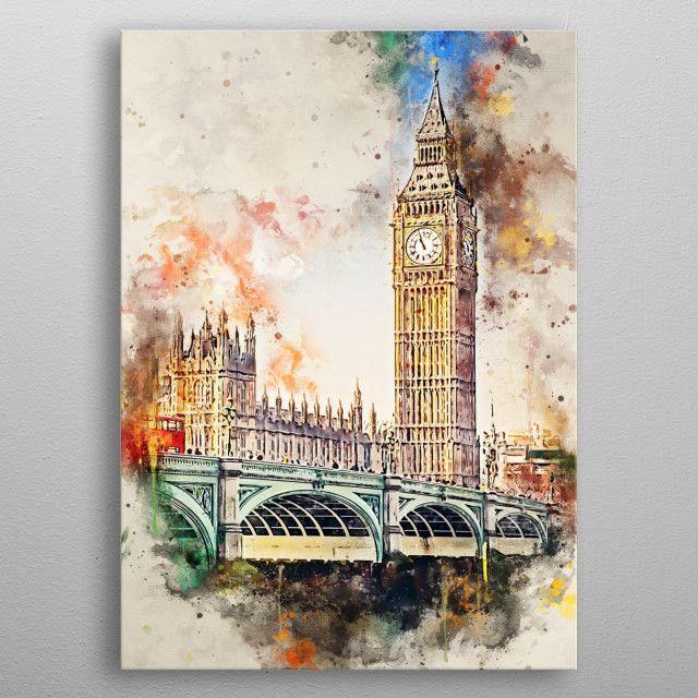 London In Watercolor Nature Poster Print Metal Posters In 2020