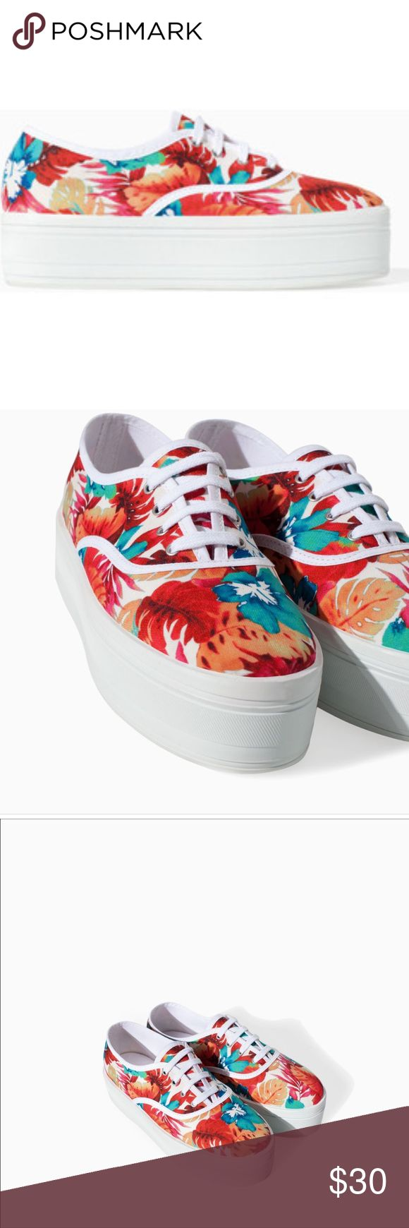 Zara platform sneakers SOLD OUT NEVER WORN, floral print Zara Shoes