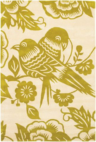 Love Bird Pattern New Zealand Wool Area Rug in Corn and Cream design by Thomas Paul