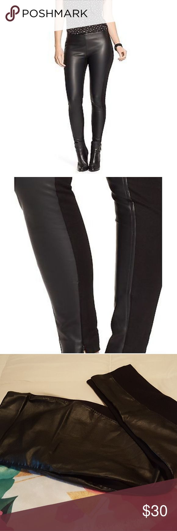 Ralph Lauren Sexy Leather Panel Leggings Pants So cute!!! I got so many compliments wearing these! Stretchy thick quality leggings with front panel and ankle zippers. Only worn twice.  In excellent condition, no flaws to note.  Size 14 petite, but I listed them as 14 regular because I think they make a really cute cropped pair of pants for a taller person too! Lauren Ralph Lauren Pants