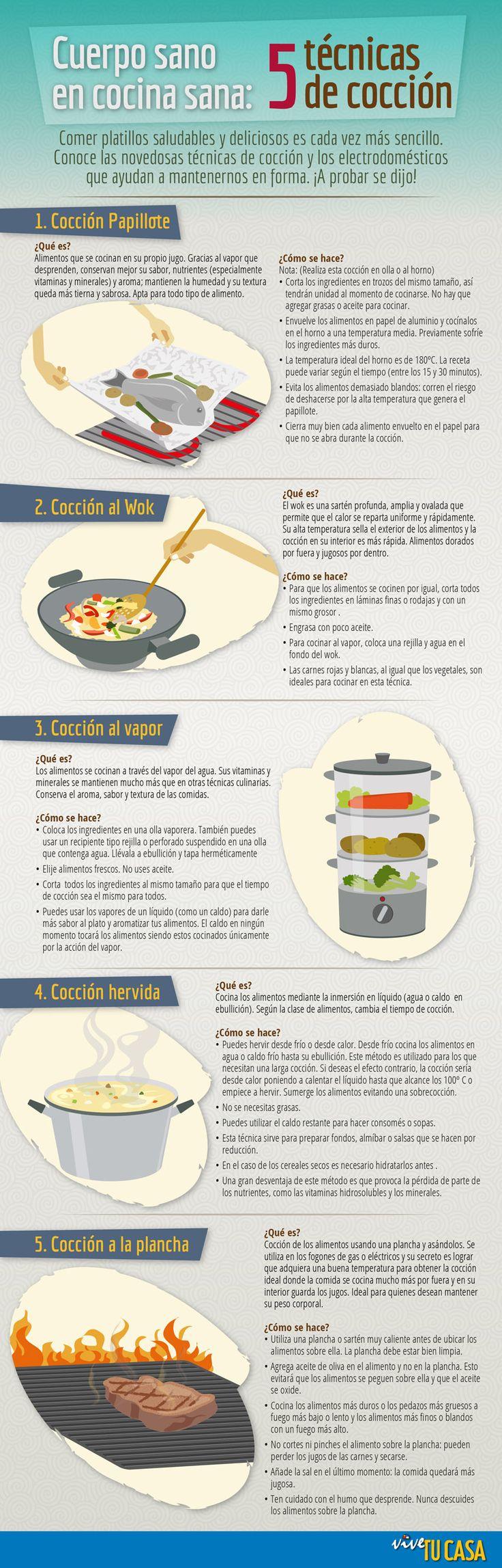 5 técnicas fáciles de cocción . Hacer platos saludables y deliciosos es muy sencillo. 5 novedosas técnicas de cocción. ¡A probar se dijo!