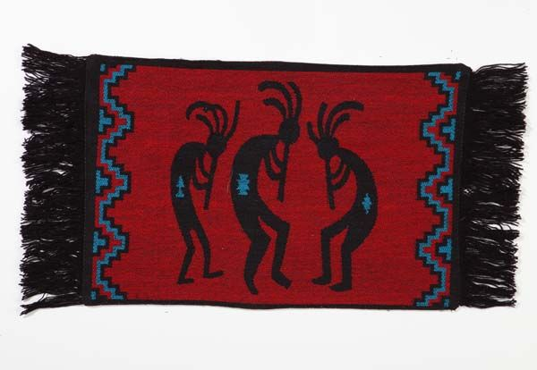 These premium placemats are woven in a beautiful palate of red, turquoise, and black.  Enhanced with canvas back and fringe.  #elpasosaddleblanket #elpasosaddleblanketcompany #placemats #fringe #nativeamericaninspired #southwest #southwestern #southwestdesign #canvas