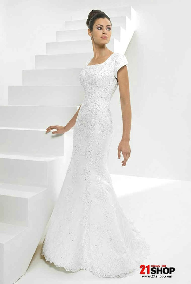 79 best Modest wedding dresses images on Pinterest   Wedding frocks ...