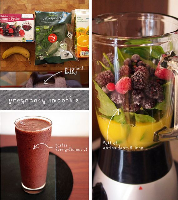 Pregnancy smoothie to make sure your little one gets his or her vitamins! - The recipe is pretty simple - about a cup of orange juice, a handful of frozen berries, one banana and a heaping handful or two of spinach (you won't taste it, promise!).