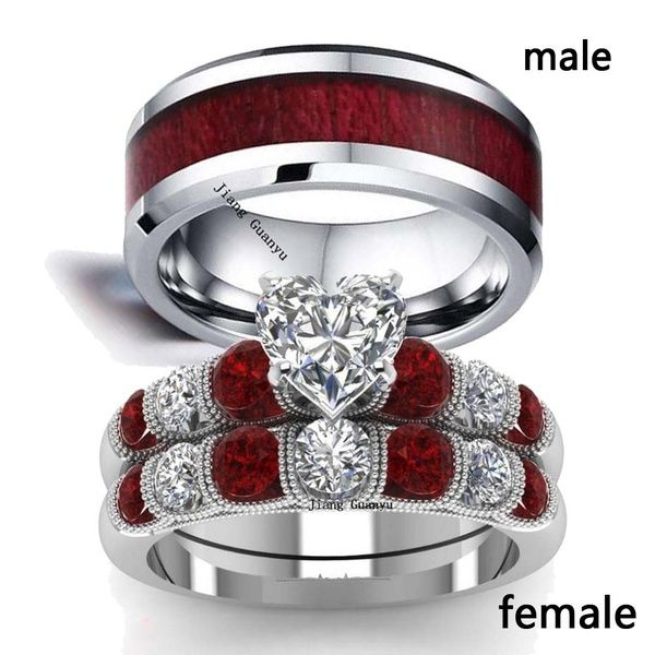 2 Rings Couple Rings Tungsten Steel Menss Band Silver White Gold