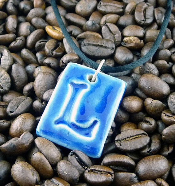 Letter Pendant & Cord Necklace - Kiln-Fired Stoneware Clay