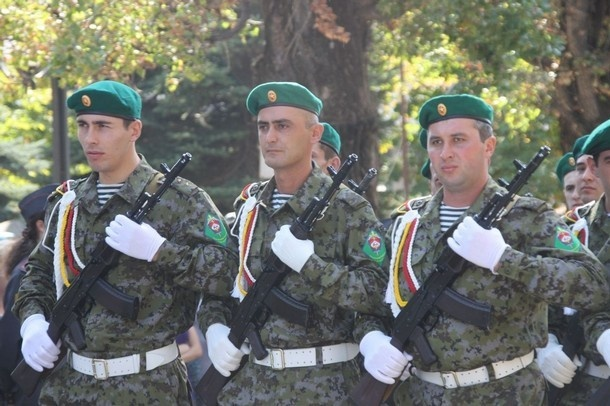 Military personal march during the Independence Day celebration in South Ossetia's main city of Tskhinvali, September 20, 2010.