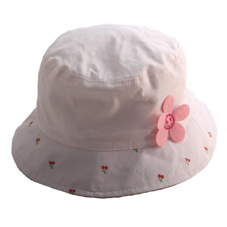 Sun hat- White w Floral - Hats, Caps & Beanies - Baby Belle