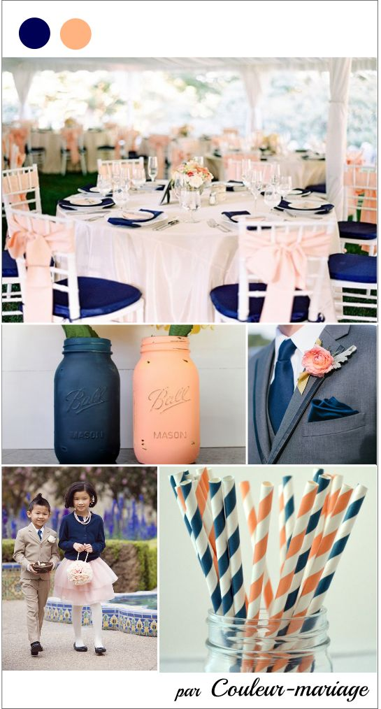 Mariage En Bleu Marine Et Peche Mariage Pinterest Wedding