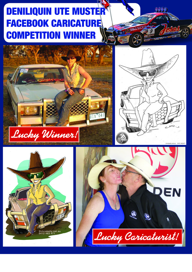 Caricatures of the Winners of the Deniliquin Ute Muster Facebook Competition!
