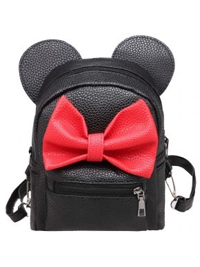 Cute Synthetic Leather Bow Small Travel Backpack School Bag.  With zipper for your phone, wallet and keys. 1 slot pocket and 1 zipper pocket.