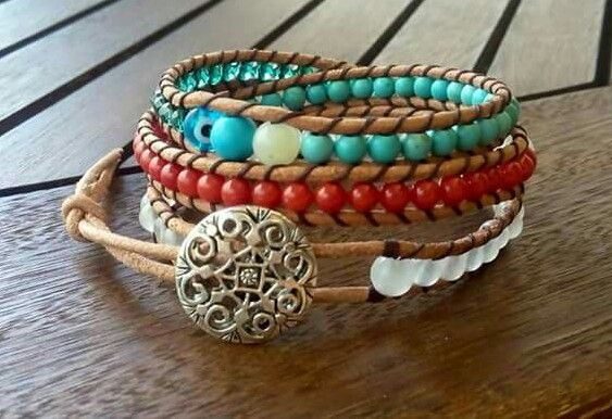 3 rows mix red coral/white jade/tyrqoise/green crystal