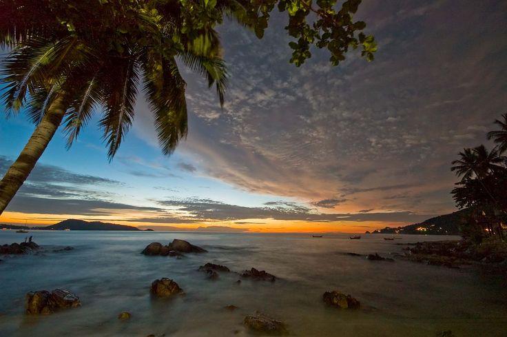 Patong Beach, Phuket Providence, Thailand at dawn.