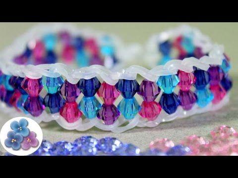 Como Hacer Pulseras de Gomitas Cristal Facil Pulseras de Ligas Rainbow Loom Pintura Facil