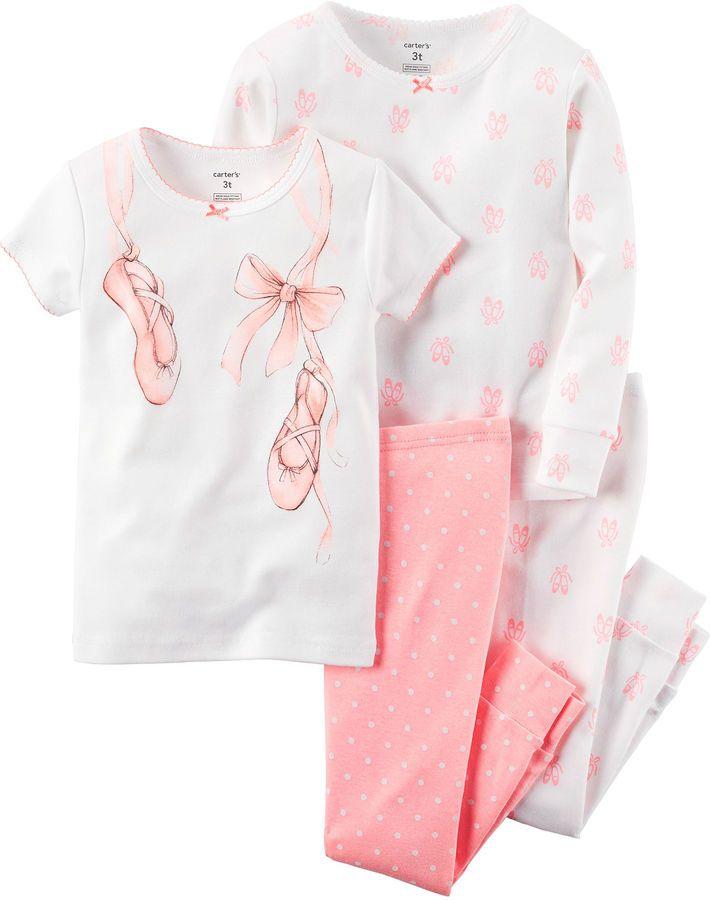 CARTERS Carter's 4-pc. Cotton Pajama Set - Baby Girls newborn-24m
