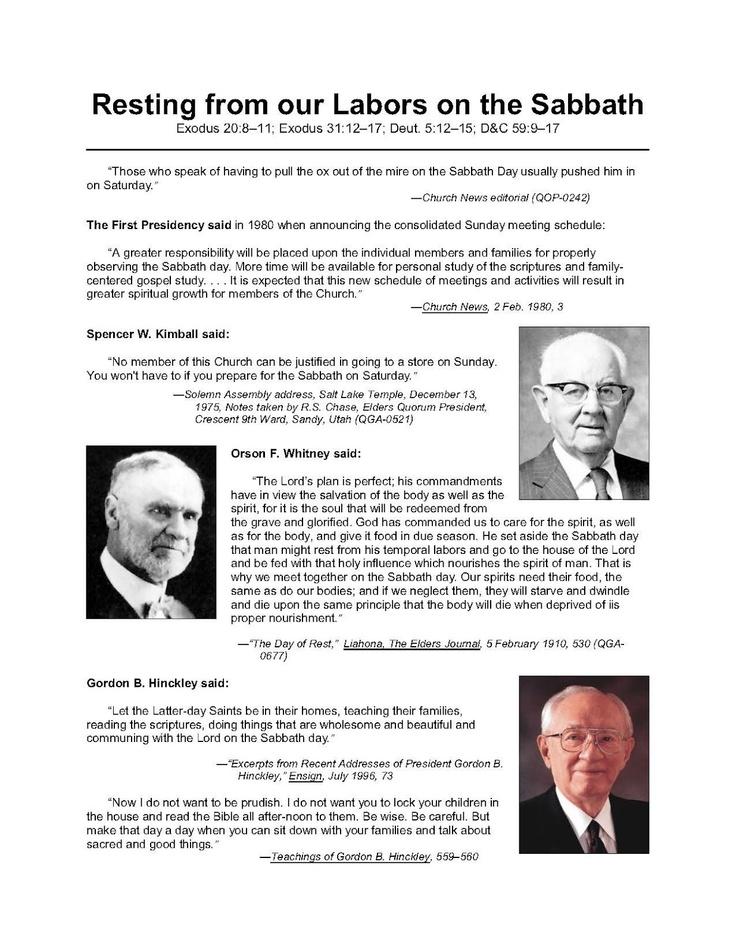 Making Precious Things Plain Blog - LDS Gospel Freebie Handout: Keeping the Sabbath Day Holy