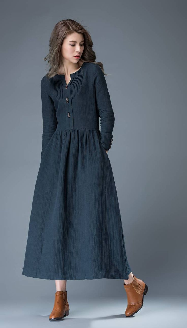 Navy Blue Summer Dress Linen Comfortable Casual by YL1dress