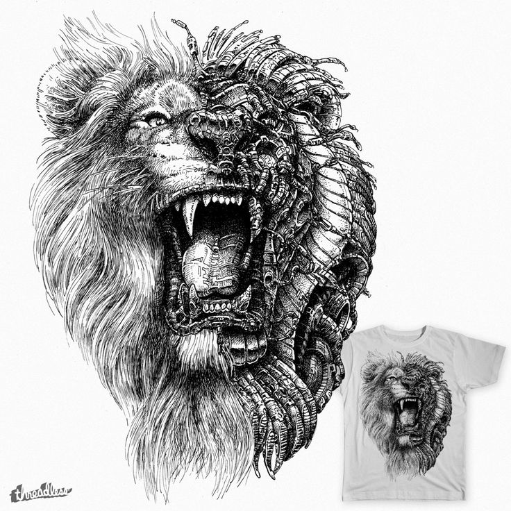 Lion Machine Head on Threadless