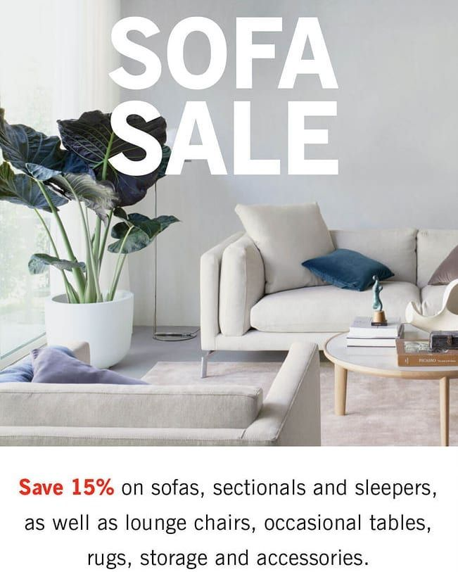 The @designwithinreach Sofa Sale is on NOW!!! . Save 15% on sofas sectionals sleepers lounge chairs occasional tables rugs storage and accessories. . . . . . . .  #decor  #interiordecor  #interiordecoration  #homedecor  #design  #homedesign  #interiordesign  #interiordesigner  #interiorstyling #interiorinspiration  #interiordesignideas  #designideas  #decorideas  #toronto #interiordesigns  #decoration  #decorate  #homedecoration  #instadesign  #instadecor  #instainteriordesign…