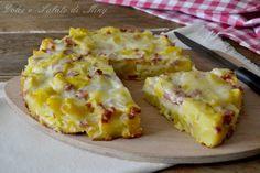 Tortino di patate e prosciutto, con mozzarella filante, ottimo caldo e filante, ma buono anche freddo se volete prepararlo in anticipo.
