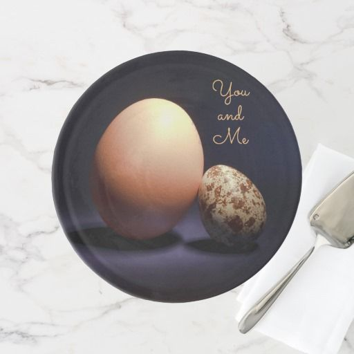 Chicken and quail eggs in love. Text «You and Me». Cake Stand #cakestand #chicken #quail #eggs #love #couple #lovers #beige #darkblue #stilllife #photography #darkness #funny #photo #food #kiychen #valentinesday  #darkpurple  #fantasy #youandme #customized #personalized #graphics #artwork #buy #sale #giftideas #zazzle #discount #deals #gifts #shopping