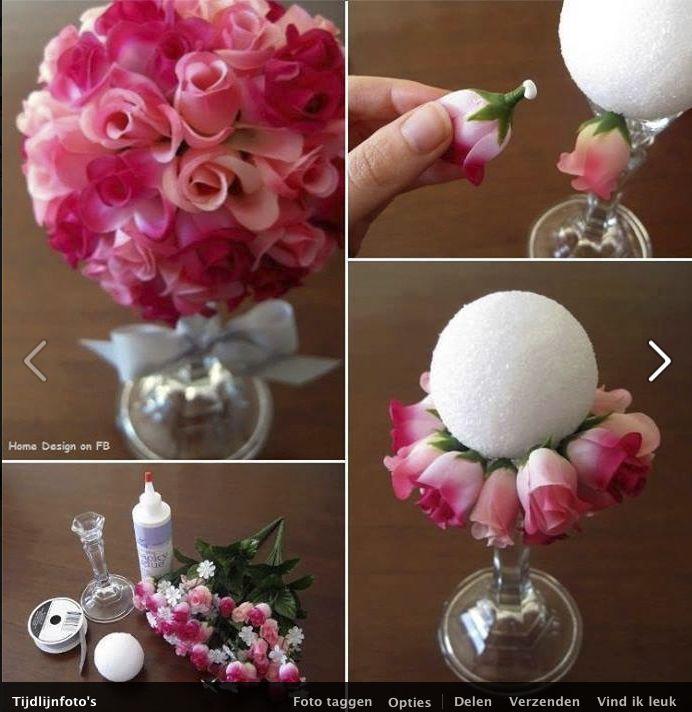 Bloembol maken met nepbloemen in schuimbol
