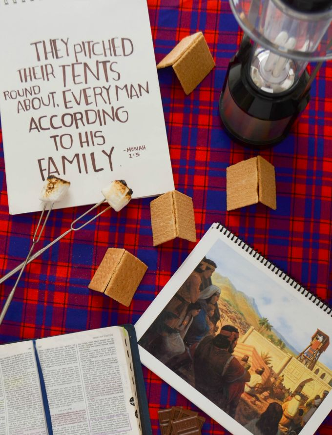 The perfect summer time FHE! Build a tent just like King Benjamin's people, enjoy s'mores and review some great gospel principles!!
