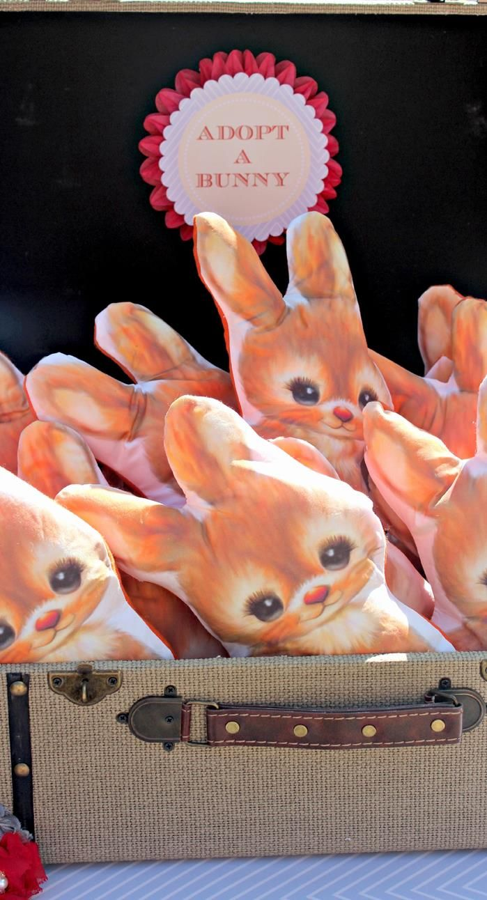 Bunny softie party favors by Heather Nolting for a bunny-themed fifth birthday party!