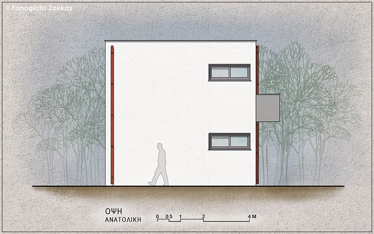Low-Cost Standardised House 90 sqm, East Elevation - www.pzarch.gr