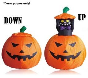 Inflatable Halloween Pumpkin and Moving Peek-a-Boo Black Cat