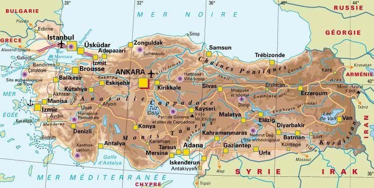 CARTE de la TURQUIE | Europa-planet