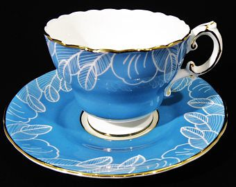 Vintage Cauldon Tea Cup and Saucer Set, Blue with White Leaves, Gold Trim, Cauldon Bone China England 1940 ~ 1950