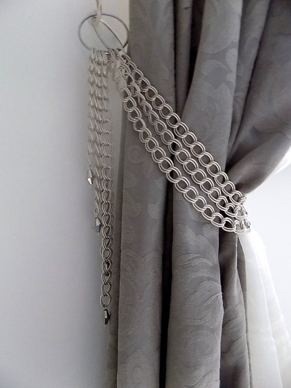 Set Of 2 Silver Chains Curtain Holders Decorative Silver Chains