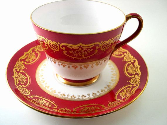 Reserve for M. Antique SHELLEY Tea Cup And Saucer, Marroon Red and white tea cup…