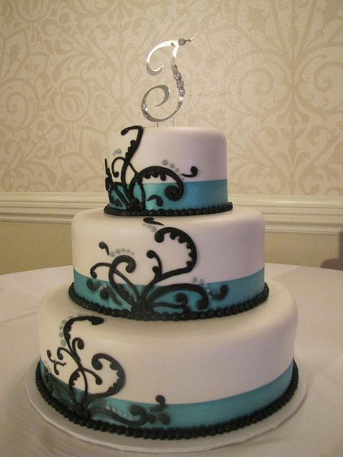 Teal ribbon wedding