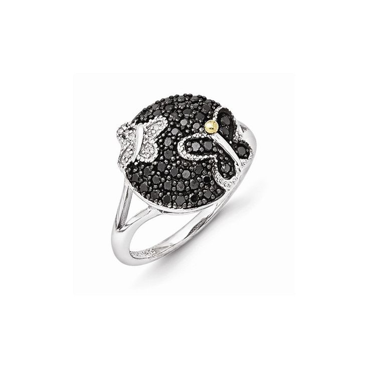 Diamond Rings : Sterling Silver w/14k Gold and Black Rhodium Blk/Wt Diamond Ring  Goldia.com