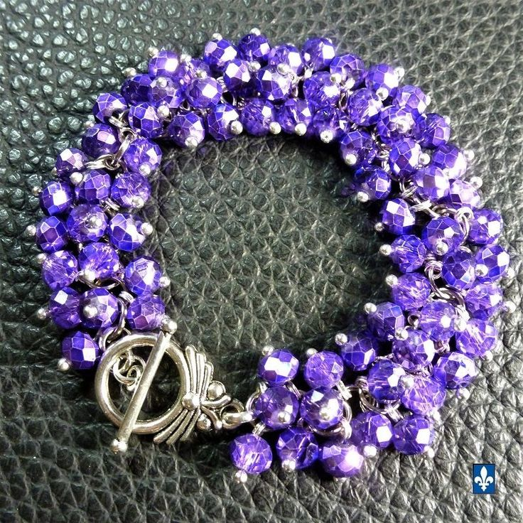 ♥ Catchy Half Metallic Purple Crystal Silver Plated Bracelet