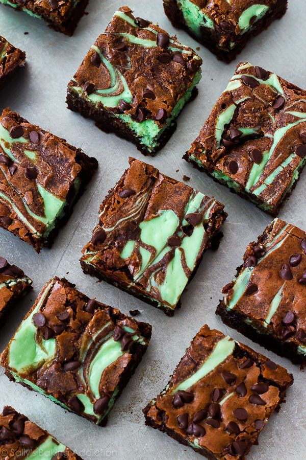 Simple and completely homemade mint chocolate chip cheesecake brownies. These are always a big hit when we make them!
